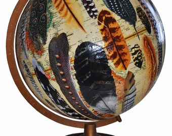 Vintage Globe with Decoupaged Feathers