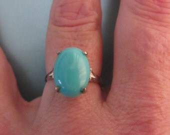 New Handmade-Sterling Silver & Campitos Turquoise Ring - Size 6 1/2