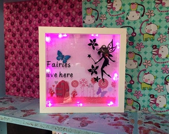 Fairies live here glowing light frame. Night light, nursery decor, personalised gift.
