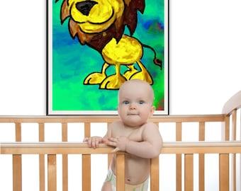 Cute Lion Wall Art Kid Lion Art Nursery Lion Painting Lion Decor Bright Nursery Art Baby Room Decor Nursery Art Lion Print Lion Poster
