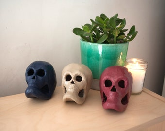 Set of three painted skulls - midnight, sand, terracotta