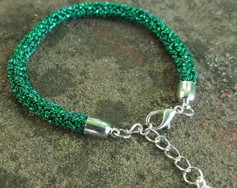 Green Sparkly Knitted Bracelet