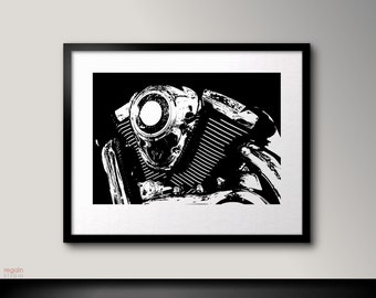 Black and white art, V-Twin classic, Motorcycle art, Black and white wall art, Black art, Black print, Motorcycle print, Black artwork
