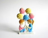 vintage earring tree . love is joy . pastel kids with balloons earring display . metal earring holder . earring holder / earring stand