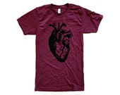 Heart T-Shirt - Anatomical Heart Print on Cranberry Mens Shirt - (Available in sizes S, M, L, XL)
