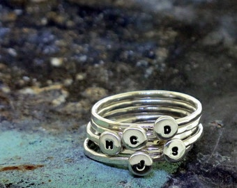 Stackable Letter Ring - custom made ring with your choice of initial in sterling silver by Kathryn Riechert (Tiny Text)