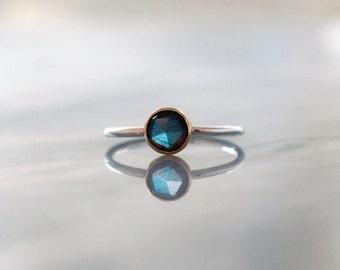 Rose Cut Labradorite Ring, Labradorite Stacking Ring, 14k Yellow Gold, Sterling Silver, Mixed Metal Ring, Blue Flash Gemstone, Handmade Ring