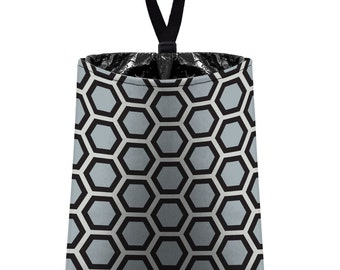 Car Trash Bag // Auto Trash Bag // Car Accessories // Car Litter Bag // Car Garbage Bag - Honeycomb black grey silver // Car Organizer