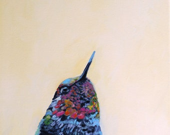 Hummingbird art print of oil painting colorful feathers bird portrait painting