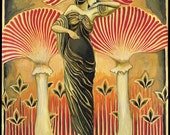 Soma Goddess Mythology Art Nouveau Psychedelic Art 5x7 Greeting Card