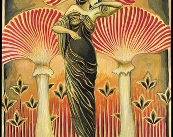 Soma Goddess ACEO ATC Mini Altar Art Pagan Mythology Art Nouveau Psychedelic Mushroom Bohemian