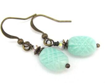 Aqua Earrings, Swarovski Crystal Earrings, Bridesmaid Gift, Aqua Wedding, Blue White Czech Glass Earrings, Vintage Style, Bridal Jewelry