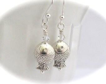 Fish Earrings, Antiqued Silver Tone Fish, Dangle Fish Earrings, Swarovski Crystal Earrings, Dainty Jewelry, Christian Earrings, Clip On