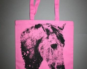 horse tote, pink horse tote, horse bag, screenprinted bag, boho, bohemian tote, canvas tote, horse