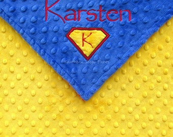 Personalized Superman Inspired Baby Blanket  - Toddler Minky Blanket for Boys , 36x40