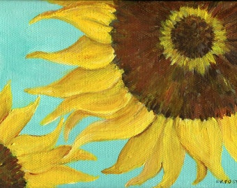 Sunflower painting, Sunflowers Art  Acrylics on Canvas, aqua background, Flower Artwork 5 x 7 sunflower decor, acrylic painting canvas art
