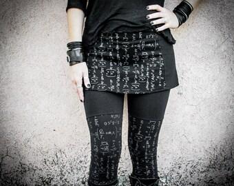ENTROPY - Mini Skirt Dystopian Edgy Dark Fashion Industrial Grunge Black Grey Printed Short Skirt