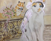 Wedding Pet Portrait Save the Date Custom Watercolor Art from your photos