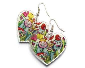 Cat Earrings - SALE illustrated - day of the dead halloween cat heart shaped pendant laser cut pretty acrylic earrings