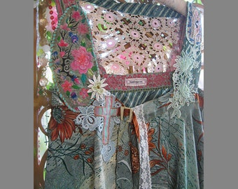 Hazy Floral Jacket, Floaty Silk & Lace, M-L, Blue Grey, Pink, Vintage Embroidery, Brown, Vintage Lace, Buckle, Bohemian, Rustic