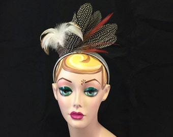 Red, Cream, & Brown Feather Headband - Music Festival, Races, Wedding, Evening, Special Occasion Headpiece
