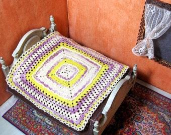 Miniature crochet bedspread dollhouse crochet miniature blanket yellow purple 1/12 scale bedding