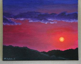 "Sunset Over the Dunes Original Acrylic Painting 8"" x 10"""