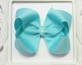 Custom AQUA Hair Bow, small, medium, large, extra large, Choose your Style, boutique, pinwheel, tails down, classic