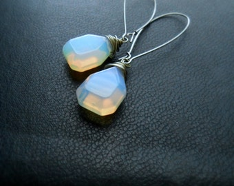 enochian - pale translucent opalite faceted tear drop beads - minimal edgy occult jewelry - goth festival fashion
