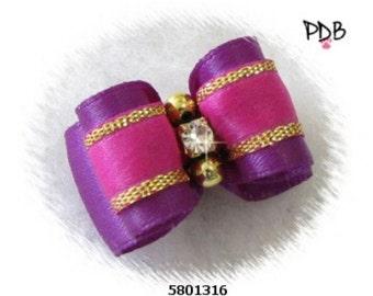 Purple Dog Bow / Fancy Dog Bows / Purple Show Bow / Satin Pet Bow
