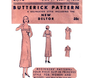20s uncut Princess Seam Slip pattern vintage Downton Abbey 36-30-39 bust 36 lingerie pattern Deltor Delineator flapper