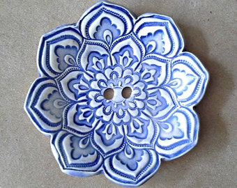 Blue and White Lotus Ceramic Ring  Bearer Bowl