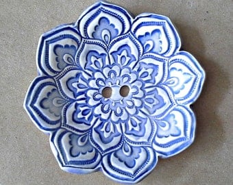 Blue and White Lotus Ceramic Ring  Bearer Bowl ring bearer pillow alternative