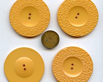 Butterscotch Bakelite Buttons Matching Set of (4) Four Large 1 11/16  inch size Large Jumbo NOS New Old Stock MORE AVAILABLE 1252