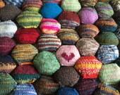 Beekeeper Quilt Starter Kit, Craft Kit, DIY gift, mini skeins, knit quilt scrap quilt hexipuff knitting gift, sock yarn handpainted sock opt