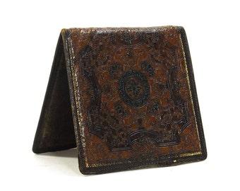 Tooled Leather Wallet / Vintage 1930s Pigskin Bilfold