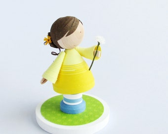 Made to Order quilled paper art girl figurine holding white flower, dandelion wishes, girls bedroom decor, gift for her, cupcake topper