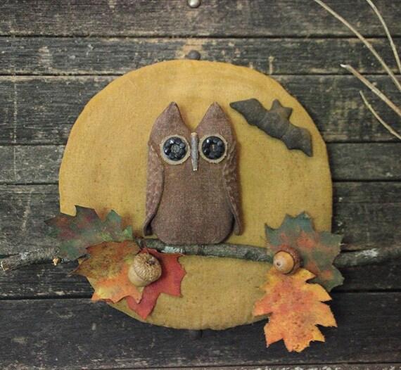 Primitive Halloween Owl Fall Leaves Moon Door Hanger Fall ~ 102409_Halloween Owl Door Hanger