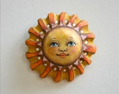 Anthropomorphic Sun Wall Whimsy Hand-Painted Wooden Sculpture Original Contemporary Folk Art OOAK