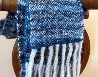 TARDIS Blue and Stary Night, Handspun Handwoven Scarf with merino, wool, and silk noils