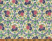 Vintage Feedsack Fabric - Multi Floral Green Yellow Pink - Flour Sack Quilting Cotton 1930s 1940s