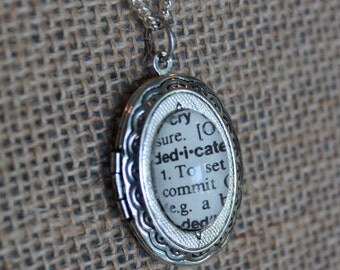 Silver Locket Necklace, dictionary word locket, personalised locket, oval locket pendant, long locket necklace, personalized jewelry