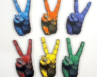 Peace Hand Sign - Rainbow Collection of 12 Wood Craft Embellishments