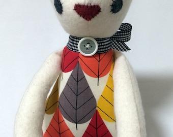 Plush Cat / Soft Doll / Stuffed Animal / Charlotte the Cat / Art Doll / Toy / Handmade Softie
