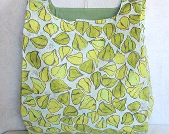 blue and green lantern pod eco market tote, reusable fabric shopping bag in designer print