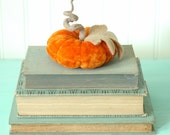 Vintage Velvet Pumpkin, Fall Decor, Autumn, Bright Orange, Recycled Wool, Adjustable Wire Stem, Lana Manis / Honeysuckle Lane