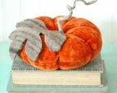 Vintage Velvet Pumpkin, Ring Bearer Pillow, Large, Fall Decor, Autumn, Dark Orange, Recycled Wool, Adjustable Wire Stem
