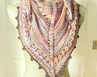 Handknit Women Triangle Scarf Shawl Style Neckwrap with Bead Dangles - Lavender and Pinks