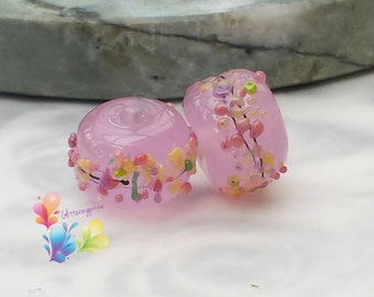 Lampwork Beads Vintage Blossoms Opalescent Rose Pair