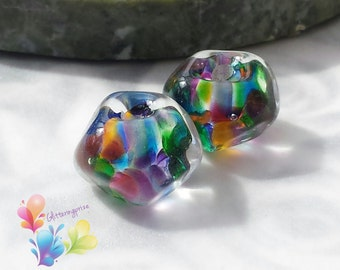 Lampwork Beads Bollywood Rainbow Nuggets Pair
